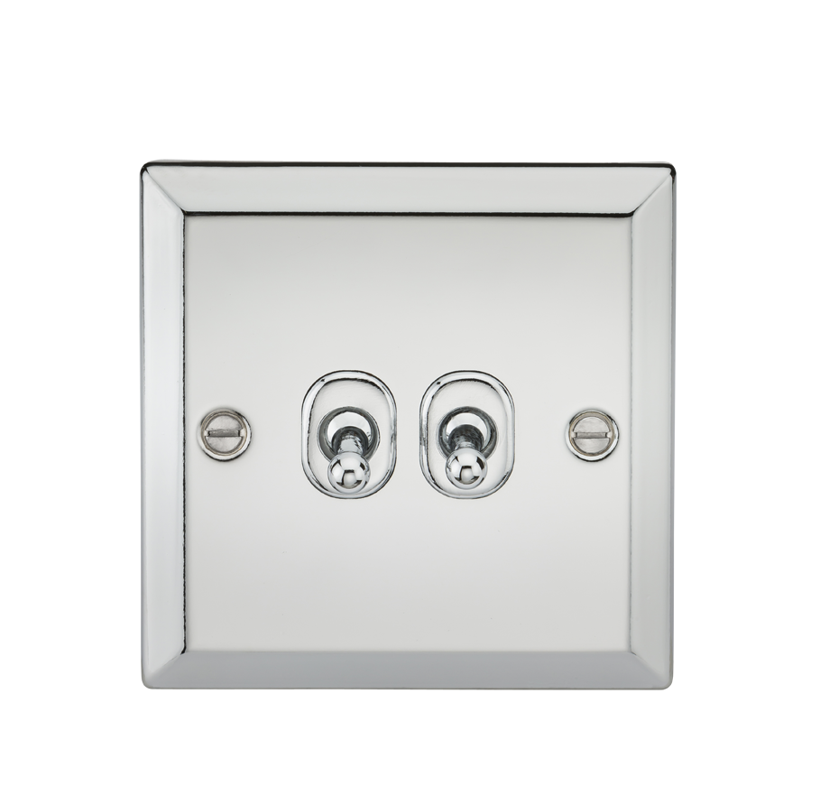 10A 2G 2WAY TOGGLE SWITCH - BEVELLED EDGE POLISHED CHROME