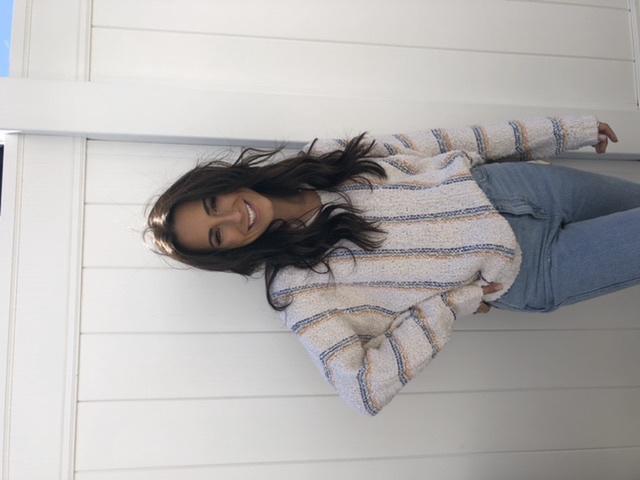 VH-Striped Chunky Lslv Sweater