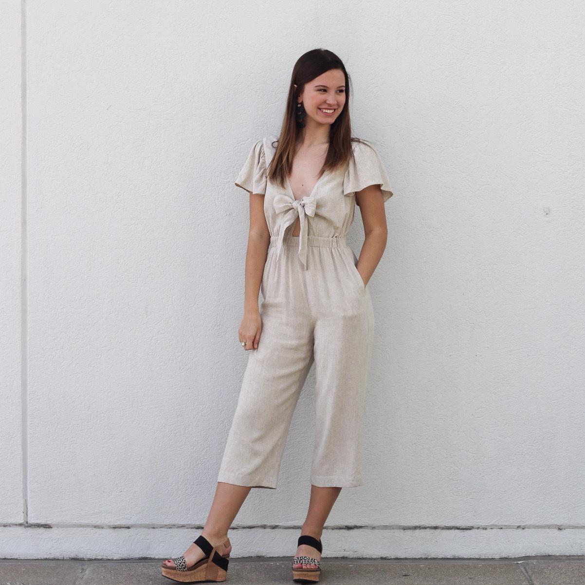 Natural Linen S/S Jumpsuit w Front Tie