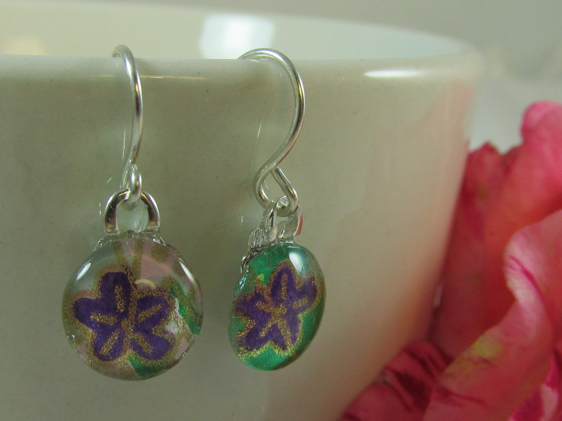Purple and green Chiyogami earrings