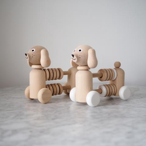Sarah & Bendrix Wooden Dog Counter White Wheels (Bartholomew)