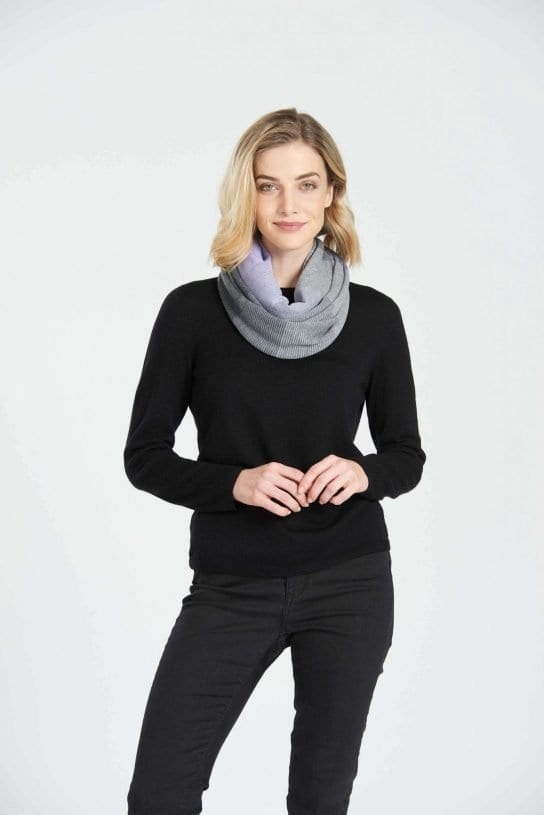 INFINITY SCARF - STEEL GREY/LIGHT PEWTER/ORCHID