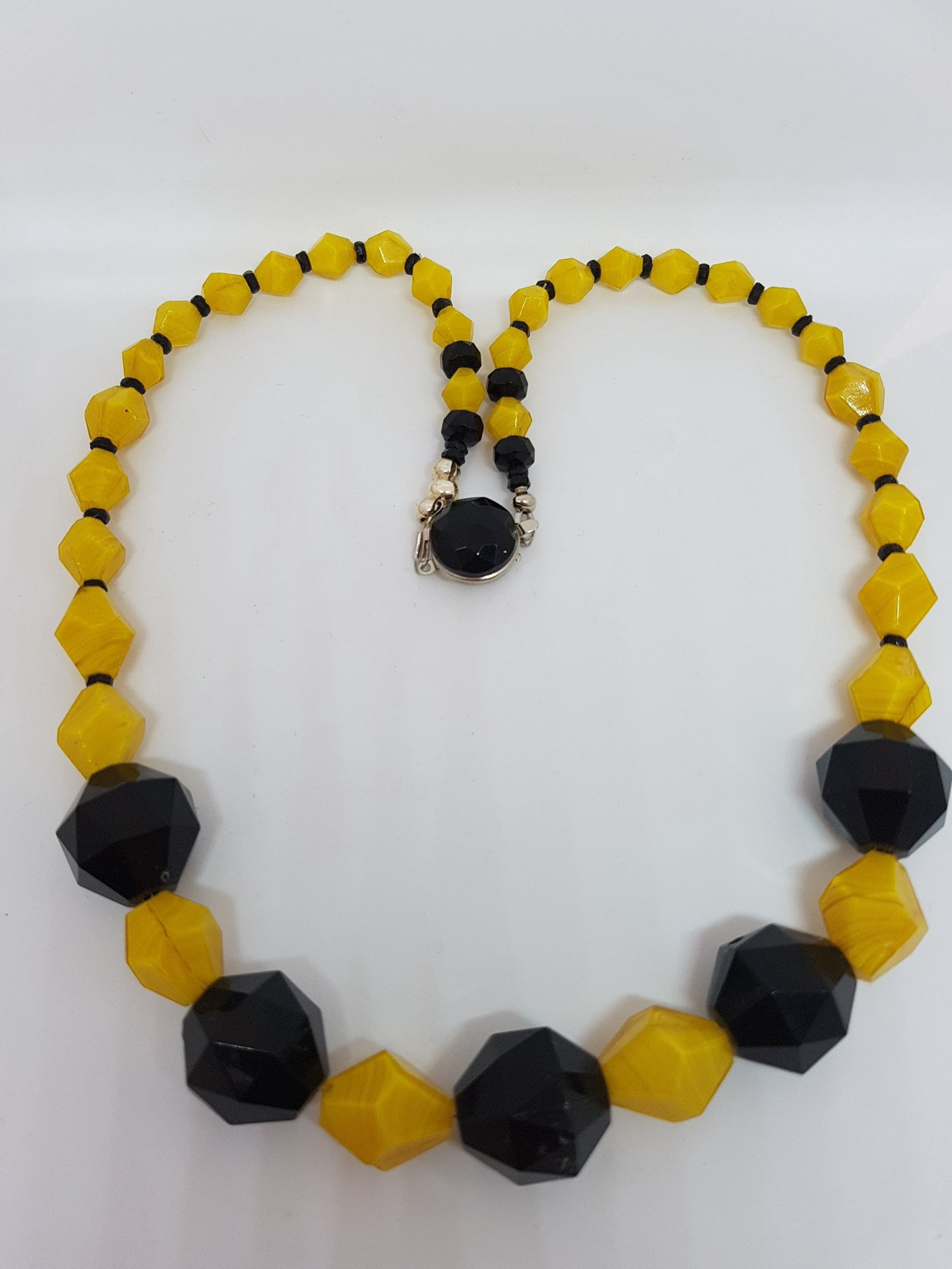 Vintage Black and Yellow Beaded Necklace