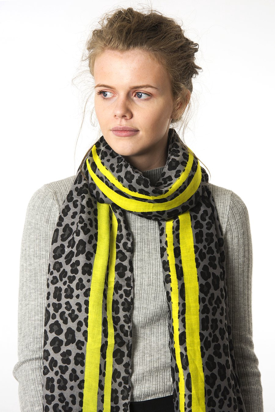 Leopard print with colored stripe scarf 2634