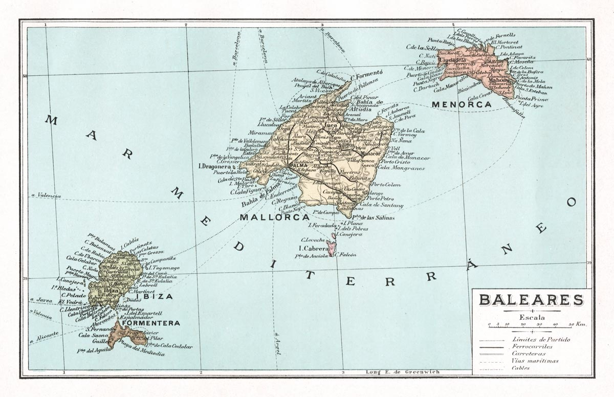 Baleares Map | Print Only
