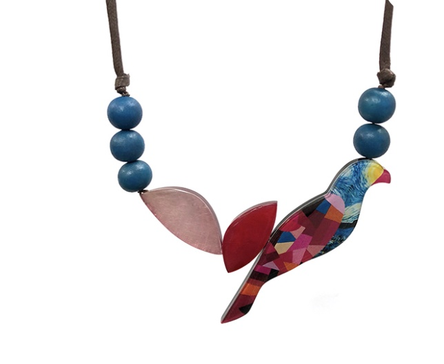 Jungle Parrot Necklace on adjustable cord