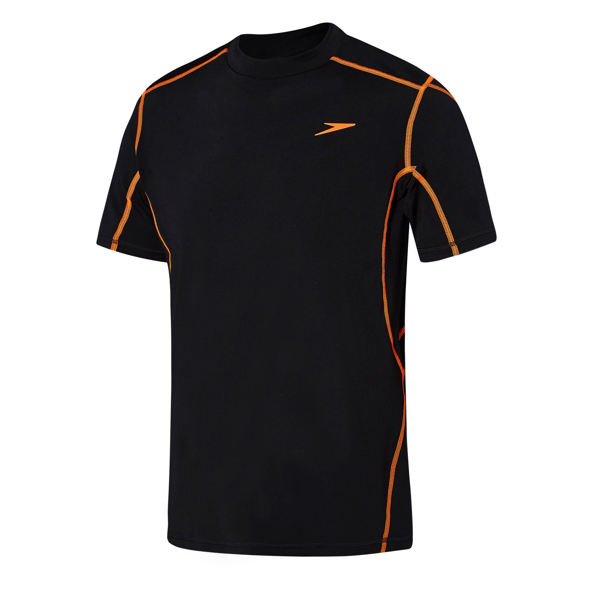 Mens Tech Short Sleeve Sun Top Black/Fluro Orange