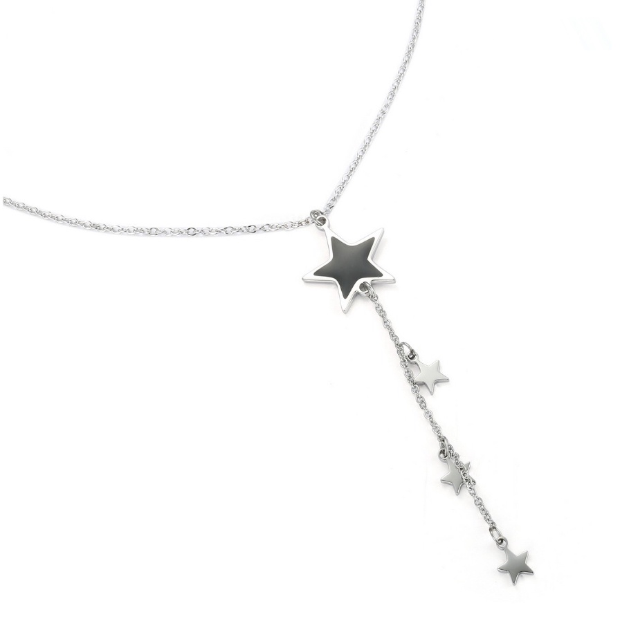 Silver falling star necklace