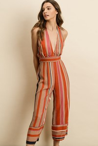 Navy/Orange/Beige Striped Halter Jumpsuit