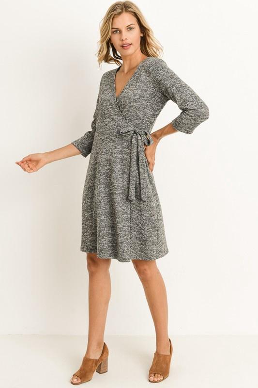 Grey A-line Wrap Dress