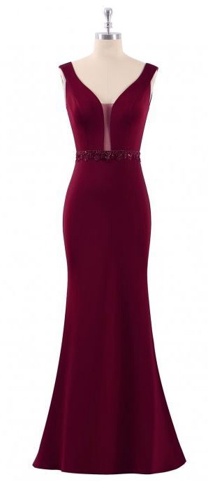 Floor Length Gown - Burgundy Embellished Waist Deep V-Neck Maxi Dress, NEW