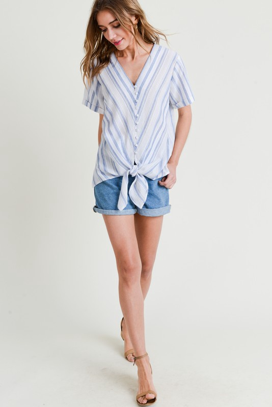Wht/Blue Stripe V Neck Top w Buttons