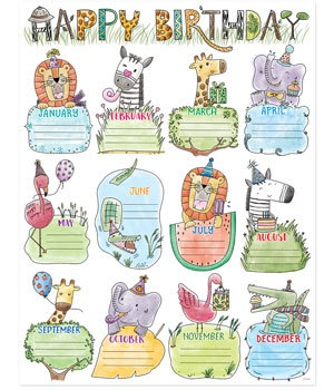 CTP 2793 SAFARI FRIENDS BIRTHDAY CHART