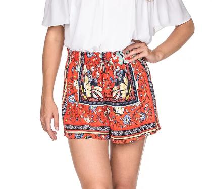 Printed Red Floral Dressy Short