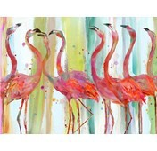 Pink flamingoes painting canvas