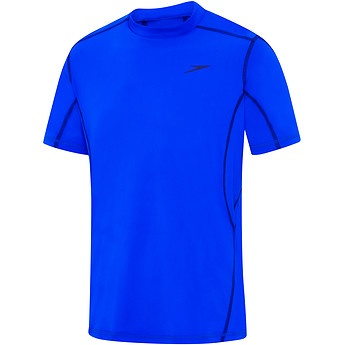 Mens Tech Short Sleeve Sun Top Beautiful Blue/Speedo Navy