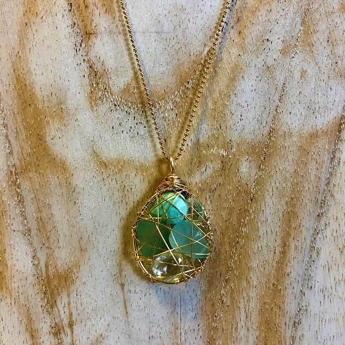 Small Treasure Pendant | Green Turquoise