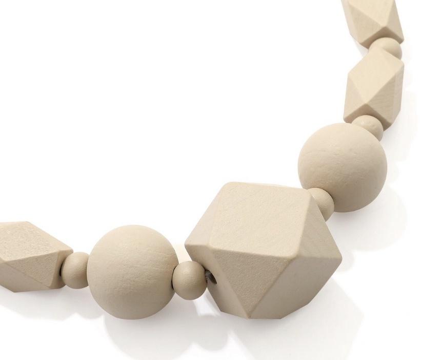 Wooden Geo Necklace in Cream