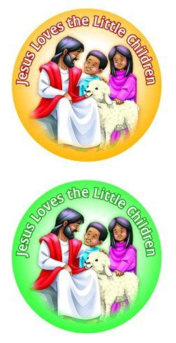 CD 5287 JESUS LOVES THE LITTLE CHILDREN SHAPE STICKERS 72 CT