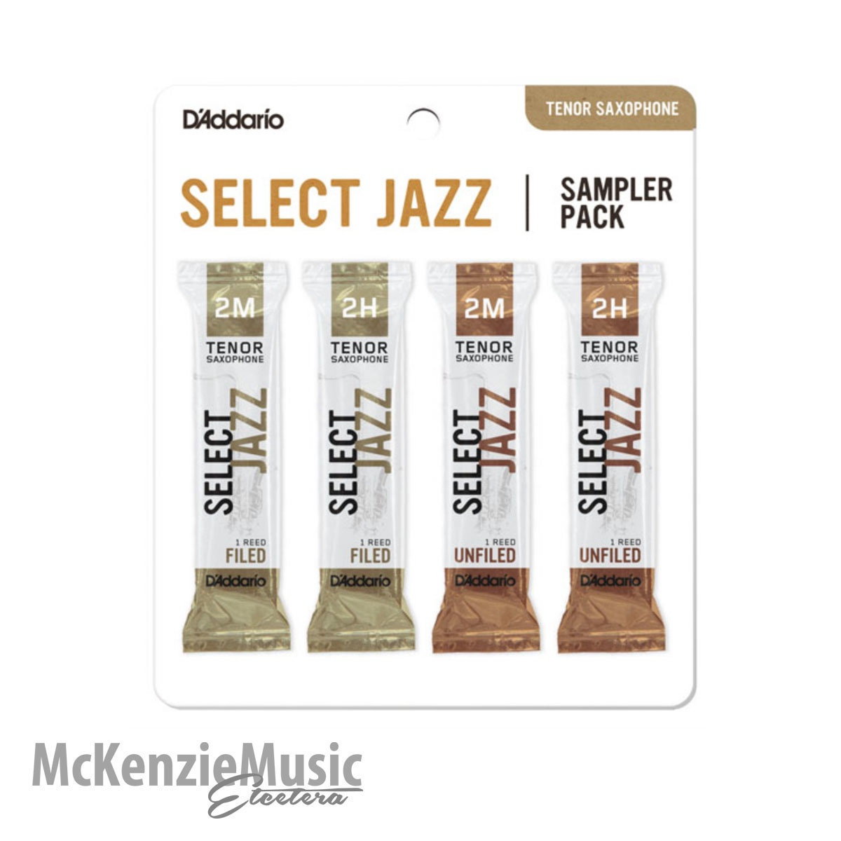 D'Addario Select Jazz Tenor Sax Reed Sample Pack Size 2