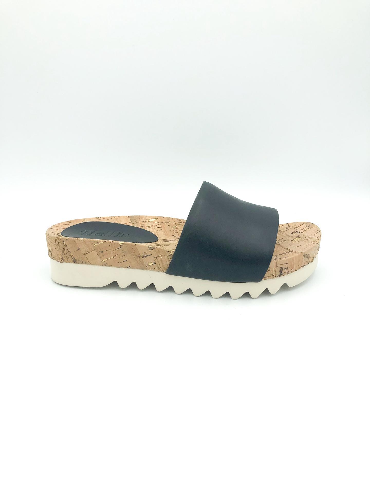 ROLLIE - SANDAL SLIDE TOOTH WEDGE IN BLACK