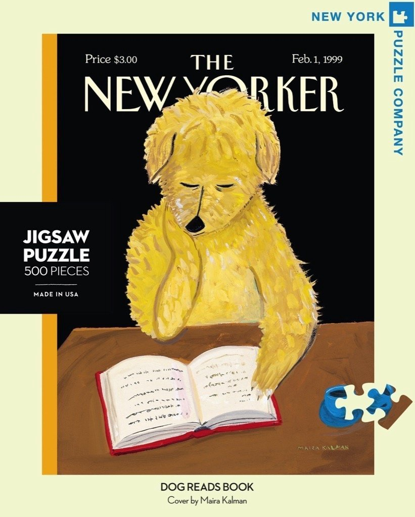 THE NEW YORKER DOG READS BOOK