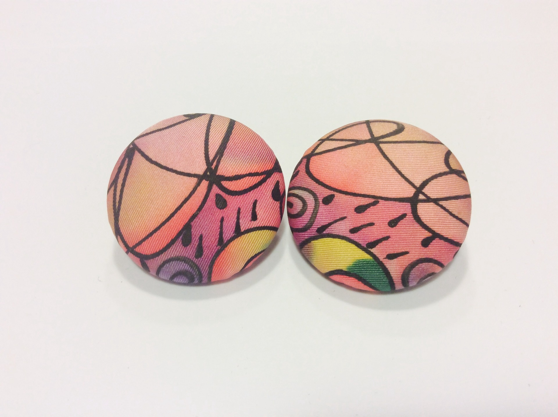 Large hand painted multi coloured round silk earrings