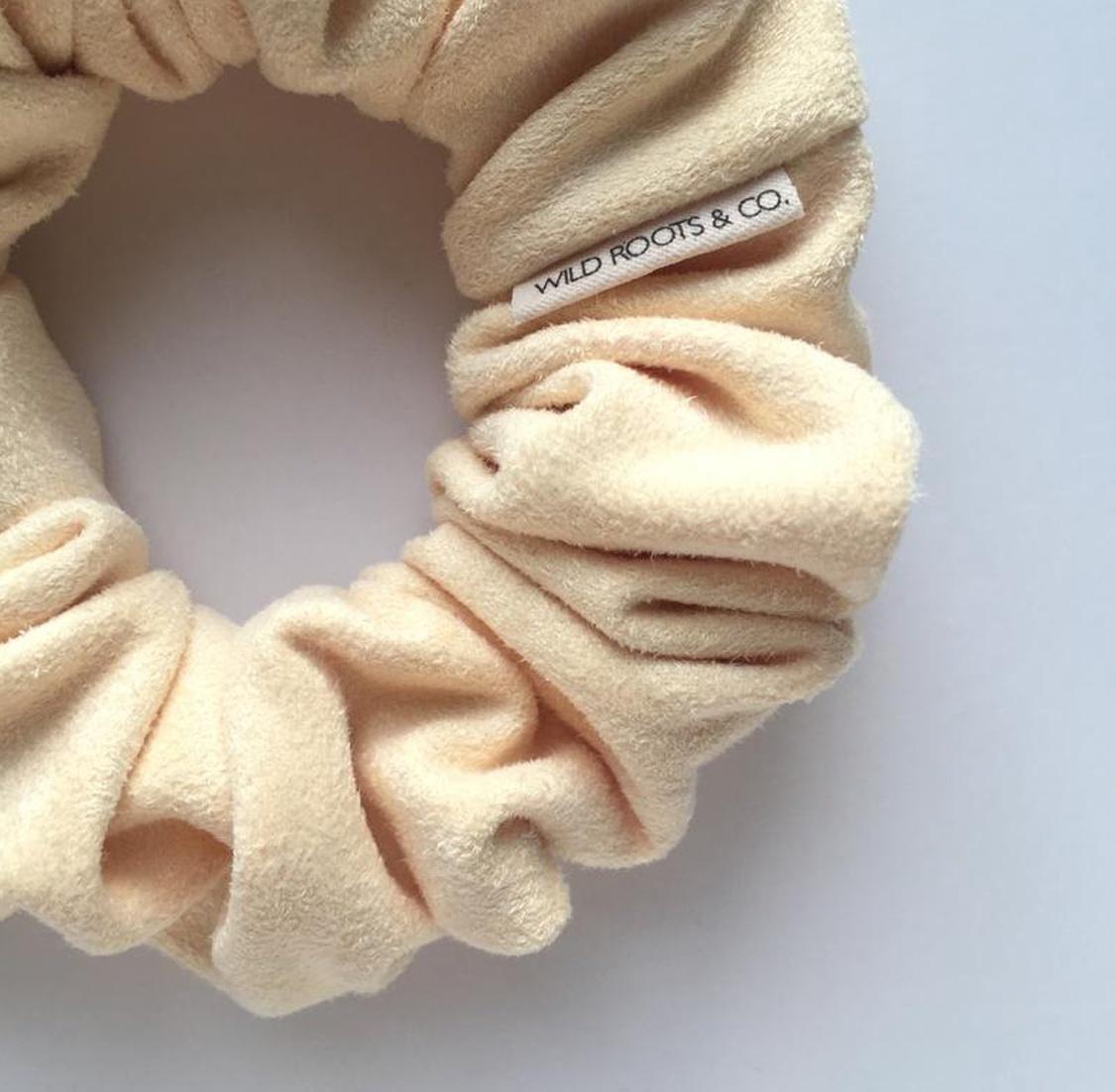 Soft Yellow Vegan Leather Scrunchie