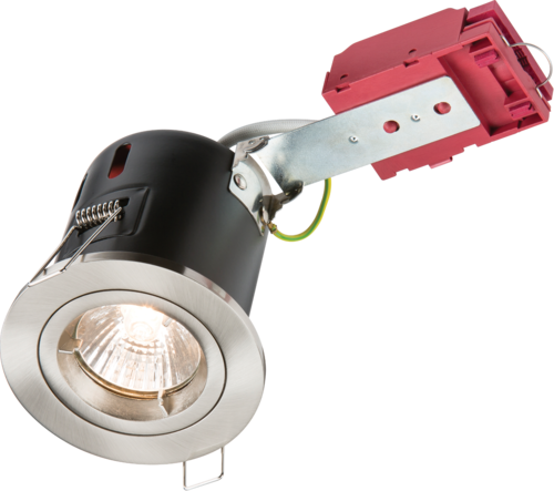 230V 50W Fixed GU10 IC Fire-Rated Downlight in Brushed Chrome