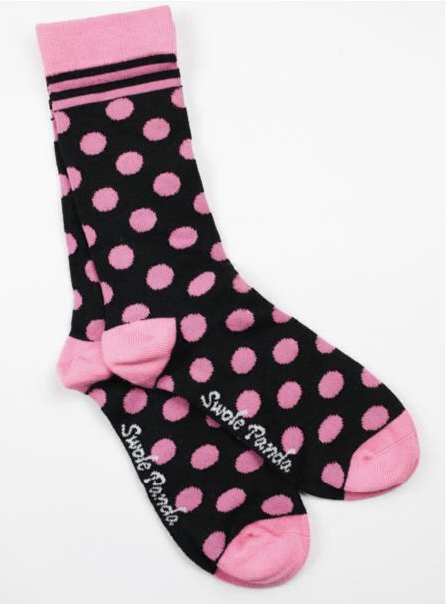 Black and pink polka dot ladies socks (4-7)