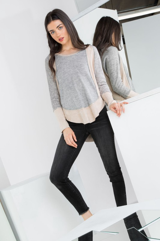 Grey Knit Top w/ Suede Panels