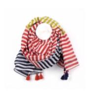 Red, Navy & Rust Stripe Tassel Scarf