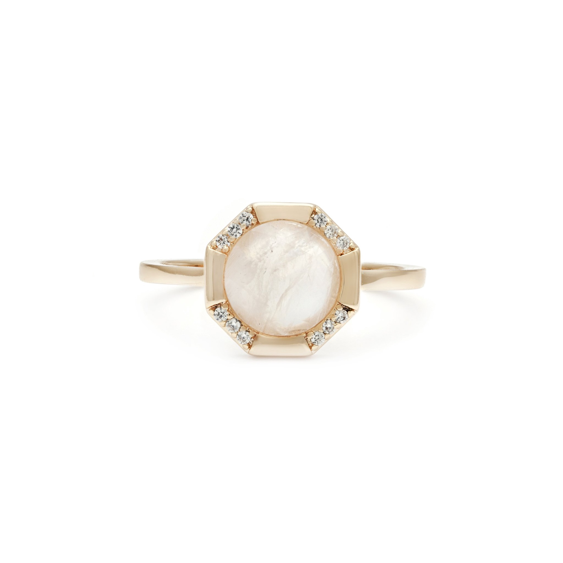 MELANIE AULD - ATHENA RING IN GOLD/MOONSTONE