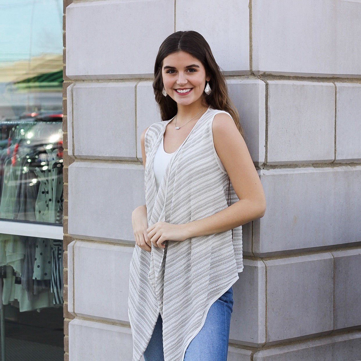 Light Grey Stripe Cardi Vest