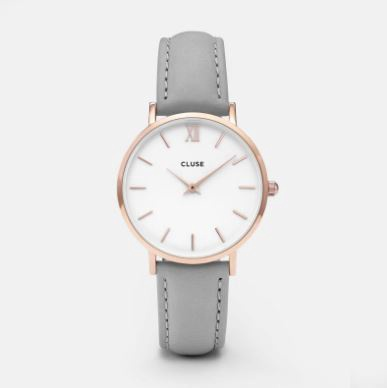 Cluse Watch CL30002 Minuit White Dial Grey Strap