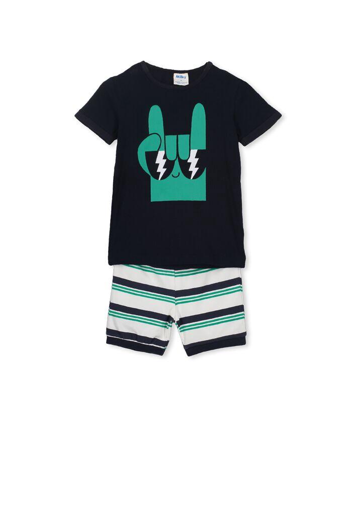 Milky Monster PJS Midnight/Green Stripe