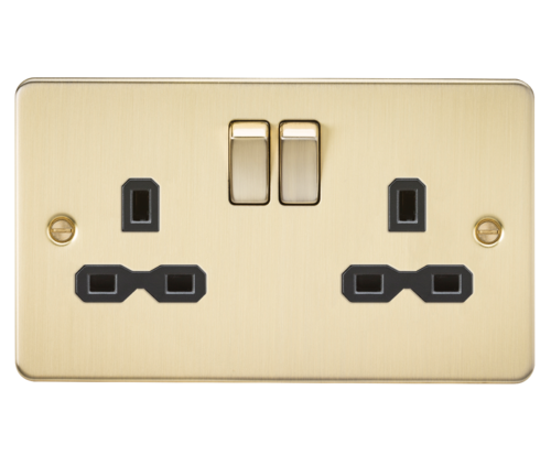 Flat plate 13A 2G DP switched socket - brushed brass with black insert