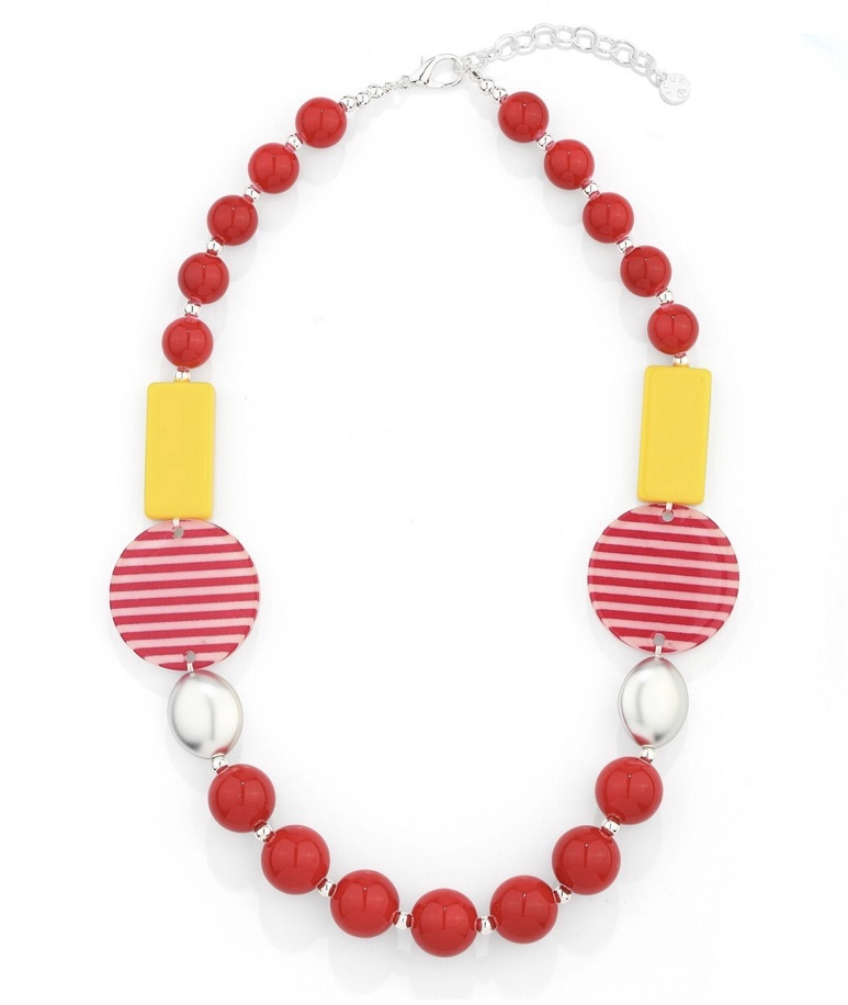 Chunky red & yellow bead necklace
