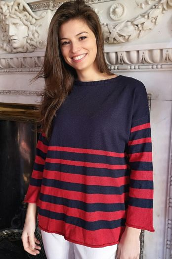 Jules Cotton Jumper Navy/Red Stripes