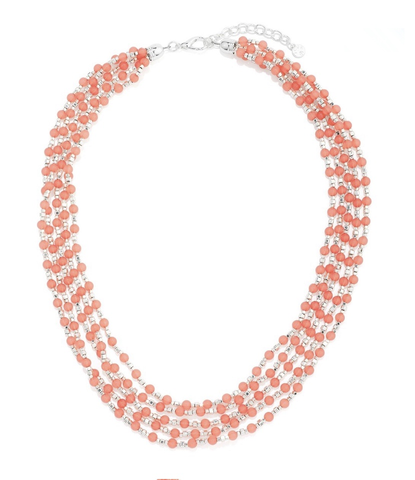 Multi strand coral pink and silver bead necklace