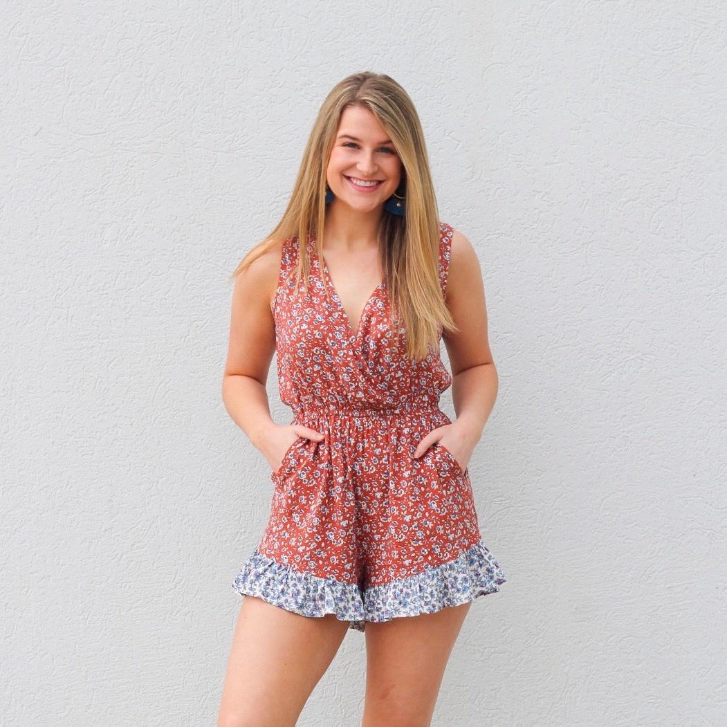 Rust/Navy Floral Print Romper w Ruffle Shorts