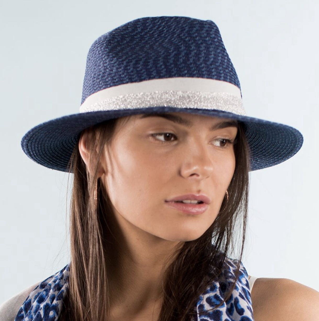 Mid Blue Summer Fedora Hat with grey and pink band