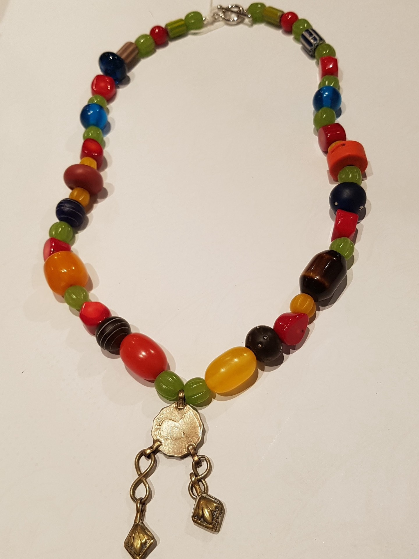 Tribal Resin, Coral and Silver Coin Necklace