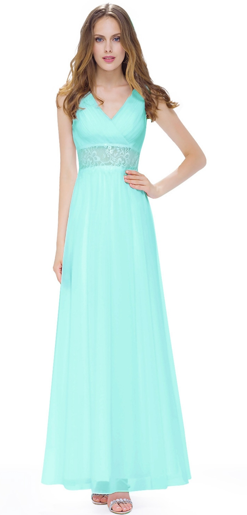Floor Length Gown - Turquoise Green Empire Maxi Dress, NEW