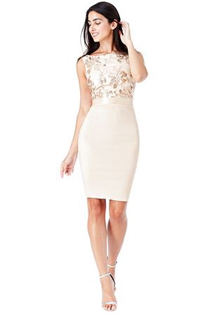 Short Dress - Stone Sequin Embellished Midi Dress, NEW