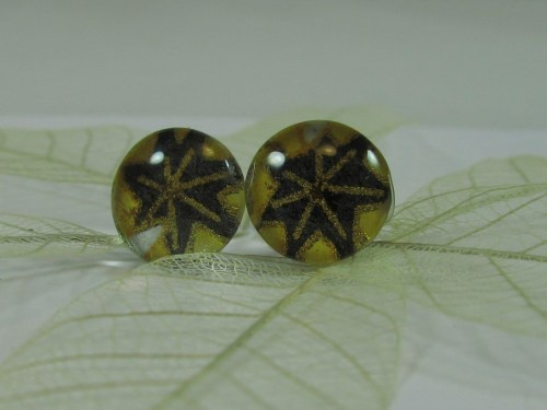Black and Gold Chiyogami Stud Earrings