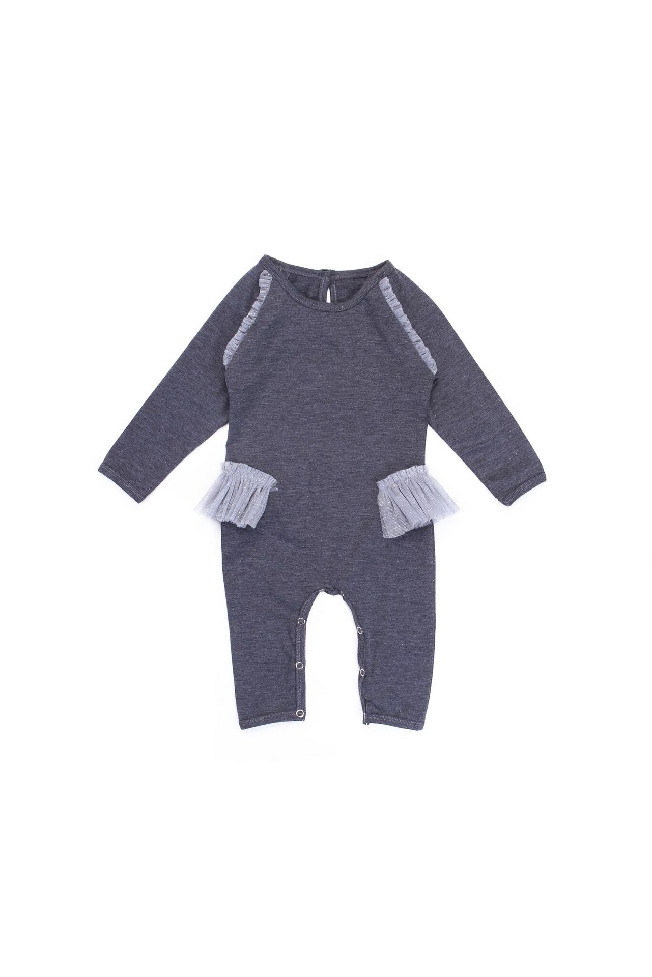 Alex and Ant Tulle Frill Onesie Charcoal