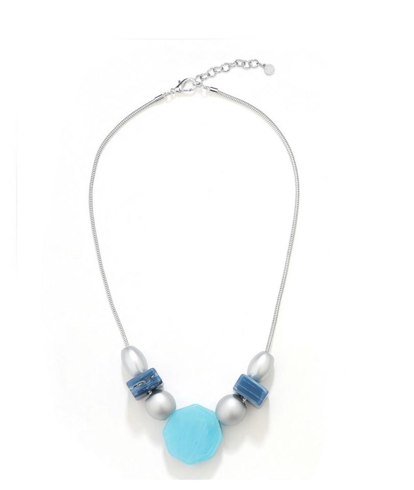 Blue silver shape necklace