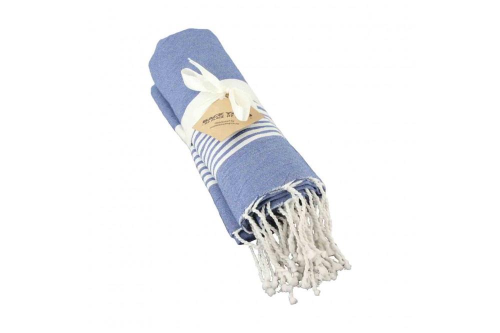 Cotton Towel Dark Blue thin striped band