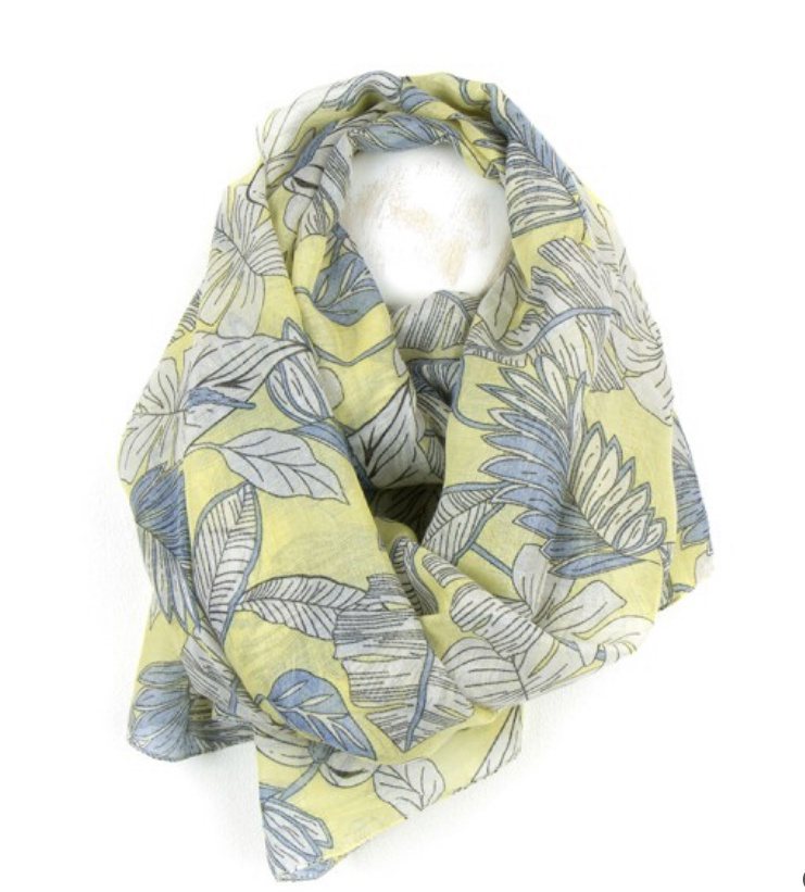 Botanical leaf print scarf in yellow and pastel blue